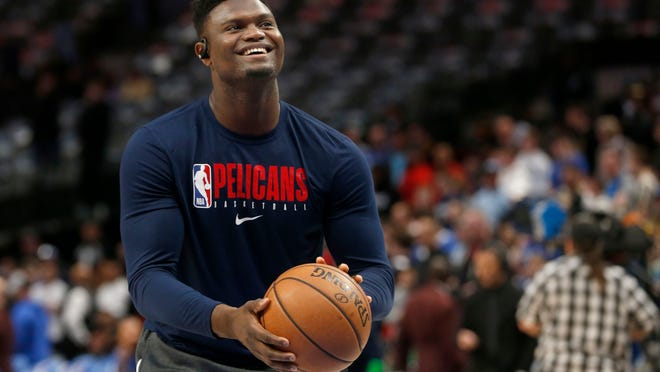 FILE - In this March 4, 2020, file photo, New Orleans Pelicans forward Zion Williamson shoots free throws prior to an NBA basketball game against the Dallas Mavericks in Dallas. Pelicans rookie Williamson says he feels like he is in good shape as he prepares to help lead New Orleans' eight-game push to make the NBA playoffs.