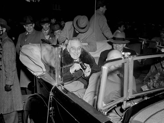 President Franklin D. Roosevelt makes a speech from his car in Kingston, N.Y., Nov. 6, 1944, during a campaign tour.