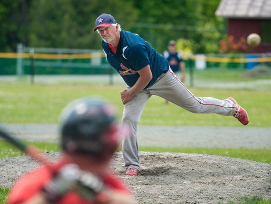 """Bill """"Spaceman"""" Lee pitches for the Burlington Cardinals"""