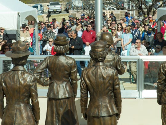 Many gather on Saturday, March 10, 2018, as the United Military Women of the SouthWest (UMWSW) officially dedicate the Women Veterans Monument at Veterans Memorial Park.
