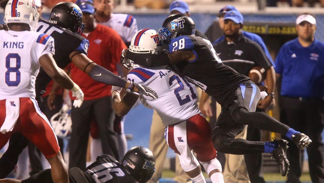 Safety Dontavious Heard (28) is one of several MTSU players to come from a West Coast junior college.