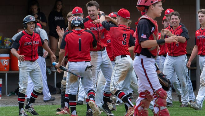 Hunterdon Central celebrate after their third run scored to give them a 3-1 lead. Hunterdon Central defeats Jackson Memorial 3-1 in NJSIAA Group IV semifinal baseball game at Rider University in Lawrenceville, NJ on June 5, 2018.