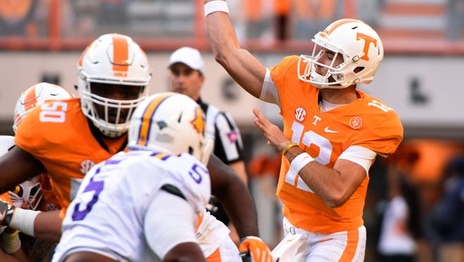 Tennessee quarterback Quinten Dormady (12) throws a pass against Tennessee Tech during the first half at Neyland Stadium on Saturday, Nov. 5, 2016.