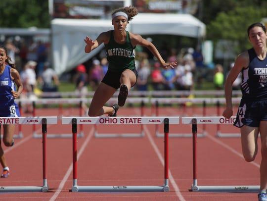 Northridge's Olivia Carpenter runs the 300 hurdles