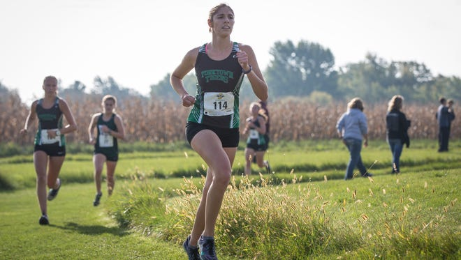 Yorktown's Suzanne Scanameo runs the IHSAA Regional Saturday morning at the Muncie Sportsplex. Scanameo took 8th place with Yorktown taking 6th place.