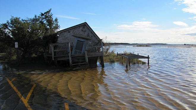 The Naturalist Shack after Hurricane Sandy in 2012.