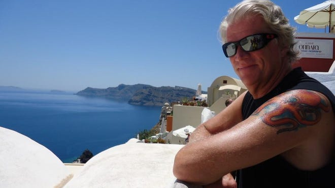 Enjoying the view from Oia, the northernmost town in Santorini.