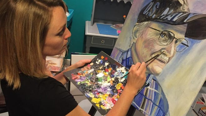 Artist Jessica Mahon is creating portraits of formerly homeless veterans found through the various area advocacy organizations, including Home At Last.
