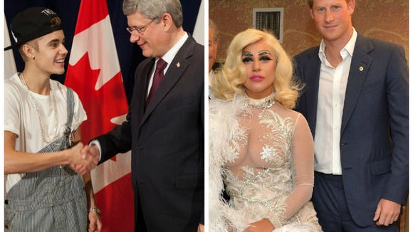 Lady gaga pulls a bieber greets prince harry in a see through dress remember that time justin bieber wore overalls to meet the canadian prime minister gawker dubbed him canadas white trash prince afterwards m4hsunfo