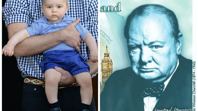Prince George goes to the zoo in Sydney in April. A portrait of Winston Churchill on a five-pound British bank note coming in 2016.