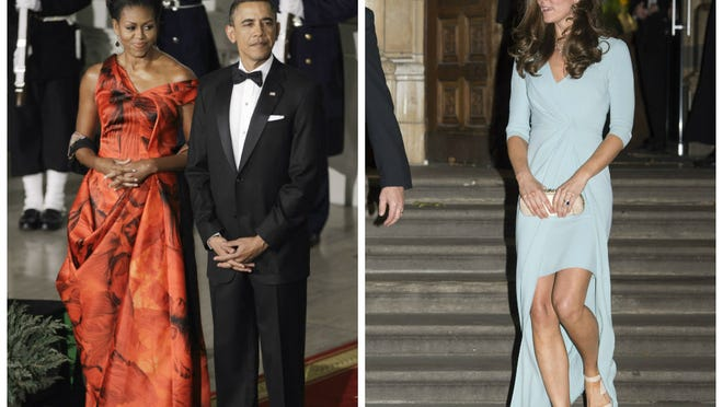 Michelle Obama in Alexander McQueen at state dinner for China in 2011 Duchess Kate of Cambridge in Jenny Packham at Natural History Museum in London on Oct. 21.