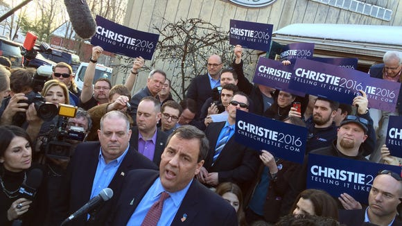 Gov. Chris Christie holds an availability with Maryland Governor Larry Hogan (left) outside Shooter's Pub in Exeter, NH, Sunday afternoon, February 7, 2016.  Photo by Thomas P. Costello / Asbury Park (NJ) Press
