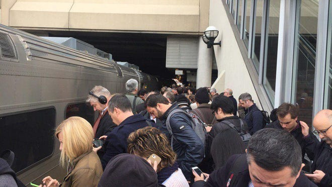 Commuters in Secaucus waiting for a train to go to Hoboken after the NJ Transit derailment from at New York Penn Station on April 3, 2017.