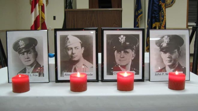 Photos of the four Army chaplains who perished on Feb. 3, 1943. From left, Lt. George Fox, Lt. Alexander Goode, Lt. Clark Poling and Lt. John Washington. Photos of the four Army chaplains who perished on Feb. 3, 1943. From left, Lt. George Fox, Lt. Alexander Goode, Lt. Clark Poling and Lt. John Washington. They were set up at Rockaway Township American Legion Post 344