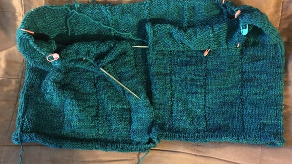 This is the Zephirine Cardigan at 13 inches, where I was Sunday night.