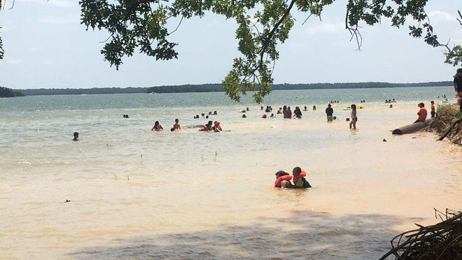 Swimmers at Lake Murray State Park.