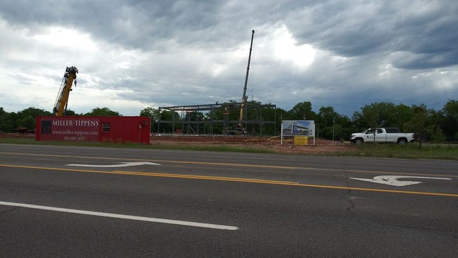 Framing is taking shape for the new SSM Health Medical Group ambulatory medical facility at Domino Plaza.