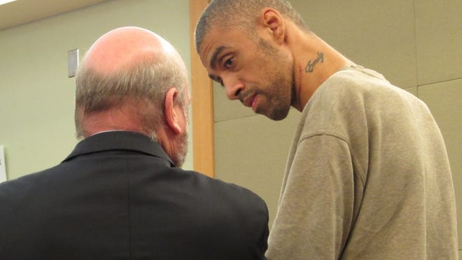 Anthony Mahabir at arraignment on attempted murder and arson charges, in front of Newburgh City Judge Paul Trachte. Lawyer Randy Siper was appointed for represent Mahabir.