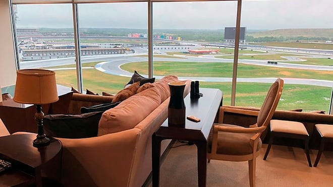 View from a condominium at Charlotte Motor Speedway in Concord, N.C. Wednesday, May 20, 2020. Fans aren't allowed to watch NASCAR races live yet due to the coronavirus restrictions -- unless you happen to own a condominium at Charlotte Motor Speedway. The condos at the track create a unique loophole in the rules where owners who live there -- and four of their friends or family -- will be able to watch the Coca-Cola 600 on Sunday from the comfort of their trackside condos.