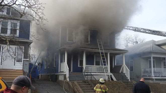 A three-alarm fire at 69 Townsend Ave. on Thursday severely damaged two-family home.