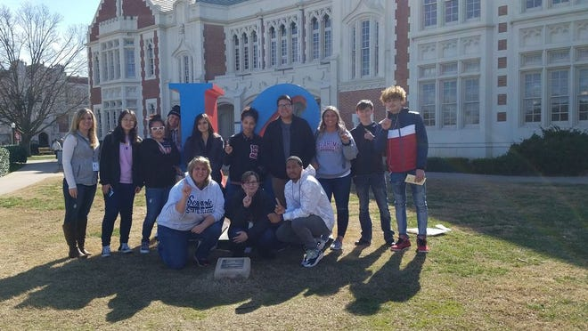 Seminole State College students break for a photo during a recent tour of the University of Oklahoma campus in Norman.