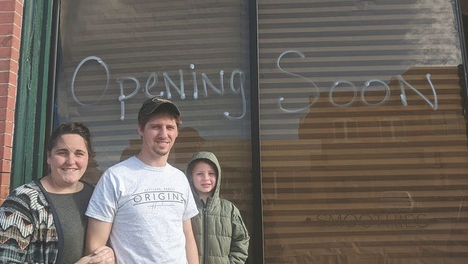 Katie, Barry Anders and their 7-year- old son Noah are the new owners of Origins Coffee House in Haviland, as of December 15.