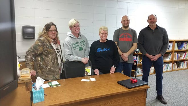 Members of the Hamburg School Board posed for a photo at the conclusion of their Monday meeting. From left are Melissa Beyer, Cris Hendrickson, board vice president; Kyla Tiemeyer, Nick Matheson and Kevin DeChant, board president.