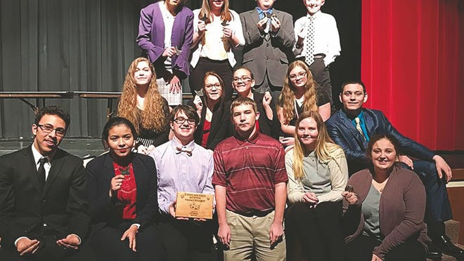 Pratt High School Forensics team members recently competing at Kingman are (from from left) Colby Barradas, Amee Hidalgo, Donovan McAbee, Brett Boor, Brooke Farr, Abby Zang. Middle row: Kaylee Pitts, Xannica Szary, Cheyenne Slaughter, Lexi Voepel, Michael Dishman. Back row: Madeline Drake, Kylee Hopkins, Nick Vail, Colby Gordon.