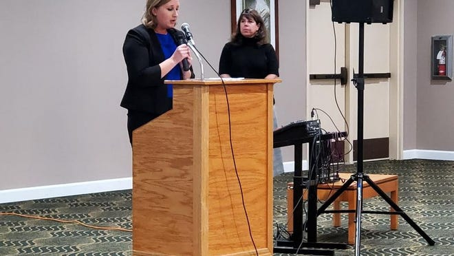 Shannon Eller, Siskiyou Adult Education Consortium Director,  left, and Marie Caldwell, right,  SiskiyouWorks Director, during a 2019 Siskiyouworks event.