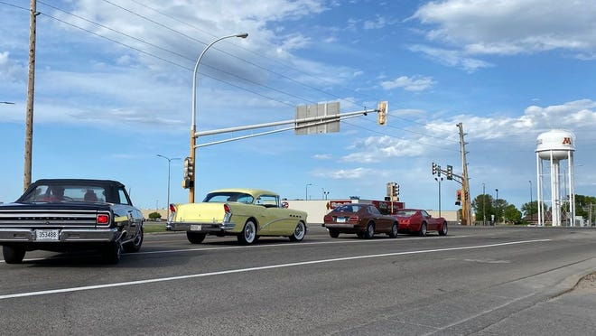 Classic cars lined up for the start of Thursday's cruise night