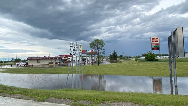 Significant rainfall occurred in Crookston Saturday afternoon causing overland flooding, as shown on the left with water surrounding Crookston Fuel and Ampride Convenience Mart near Highway 75 South.