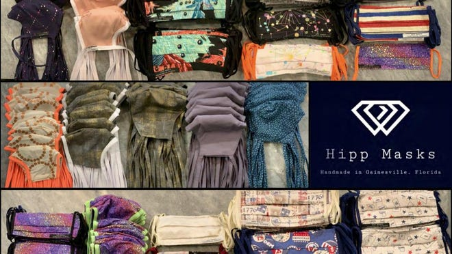 Hipp Masks is a collaboration between The Hippodrome and former Gainesville Mayor Pegeen Hanrahan. Proceeds from the sale of its Gainesville-centric masks go to support theater wardrobe department workers.