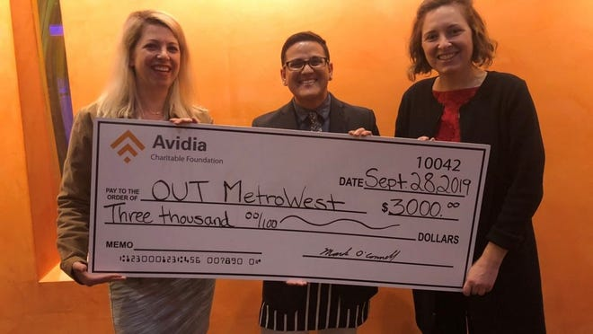 From left, Katelin Cwieka, AVP communications manager at Avidia Bank; Kay Gordon, program manager for OUT MetroWest, and Julie Blazar, director of communications and outreach for OUT MetroWest.