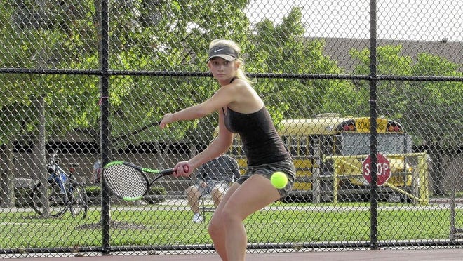 Sophomore Ella Oleson competes at first singles for the Jerome girls tennis team. Oleson and the Celtics were 8-2 overall after beating Olentangy Liberty on Sept. 17 and went 5-0 in the OCC-Cardinal Division to capture their 17th consecutive league title.