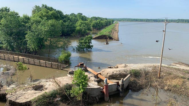 This photo shows flood damage July 9, 2019 in the Howard County bottoms from the Salt Creek bridge on U.S. Route 40. Rebuilding the Salt Creek Bridge is one of the final major projects to rehabilitate the Katy Trail's midwest section.