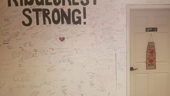 On Feb 14, 2020 the wall dividing the working part of Ridgecrest Cinemas from the earthquake-damaged portion is seen covered with messages of support for the theater and the community. This outpouring of good will was typical after the Ridgecrest earthquakes. The theater rebuild was nearing completion after an estimated $125,000 in repairs when COVID-19 hit. It was closed because of the pandemic, then reopened briefly. It closed again July 1 on the direction of Governor Gavin Newsom.