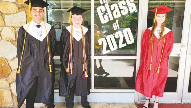 Looking forward to tonight's graduation, pictured from left to right: are Chase Hood, co-salutatorian;  Alecxander Gwynn, valedictorian; and Jazlyn Skeen, co-salutatorian.