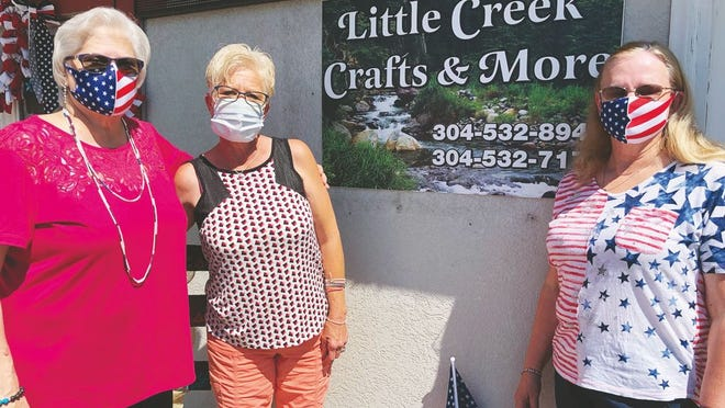 Pictured from left to right are Shayne Hannum, Cookie Milam and Connie Fisher who opened Little Creek Crafts & More on July 1.