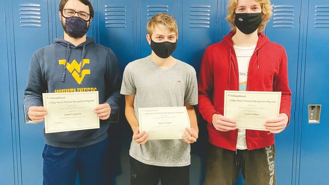 Pictured from left to right are Samuel Carpenter, Robert Hopper, and Cayden Adkins, Ripley High School seniors recognized by the College Board for their academic achievement on the PSAT/NMSQT.