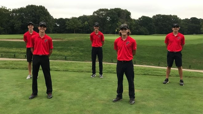 The Pekin boys golf team's five seniors pose for a perfectly social distanced Senior Day photo at Lick Creek Golf Course. From left are Adam Cash, Mason Minkel, Cooper Theleritis, Dawson Woll and Tanner Bradshaw.