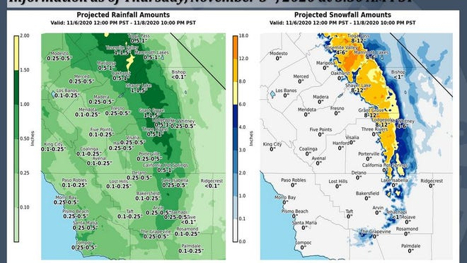 Graphic shows Taft could see up to a quarter inch of rain over the weekend