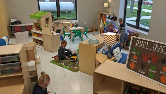 The early learning center has a 3,300-square-foot large motor skill area where preschoolers can be active.