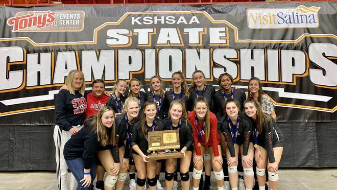 Shown is the Lansing High School varsity volleyball team as the runner-up at the 5A state tournament at Tony's Pizza Event Center in Salina.
