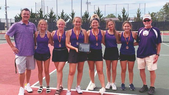 The Camdenton girls tennis team after its Waynesville Tournament championship run on September 4.