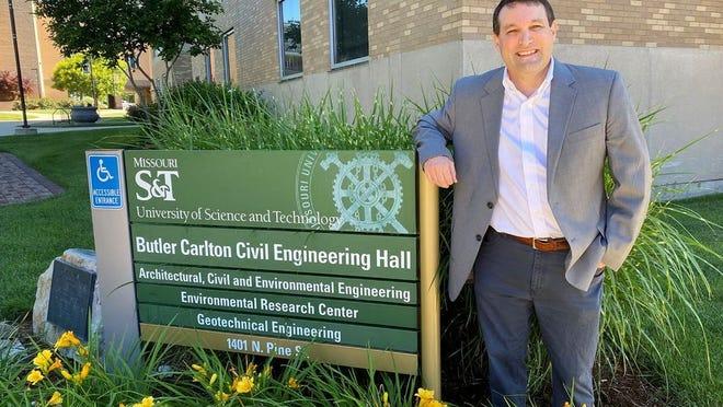Dr. John Myers outside Butler-Carlton Civil Engineering Hall at Missouri S&T.