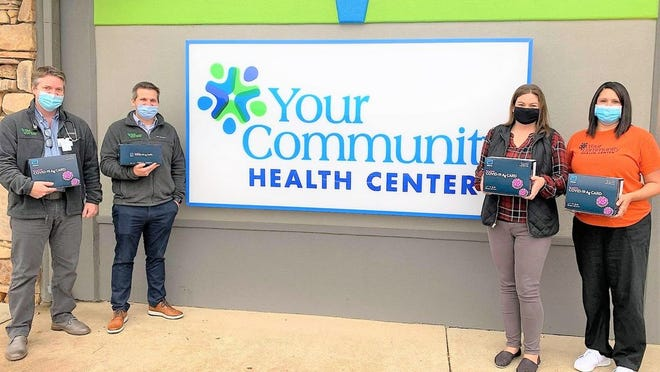 From Left: Dr. Matt Porter, YCHC Medical Director and Family Practice Physician; Stuart Gipson, YCHC Chief Executive Officer; Laura Robison, Rolla School District's Director of Nursing and Kassandra Troutt, YCHC Office Manager. Photo courtesy Rolla School District