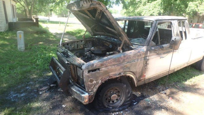 A truck caught fire Saturday in Brookville, engulfing the engine bay and interior of the cab before being put out.