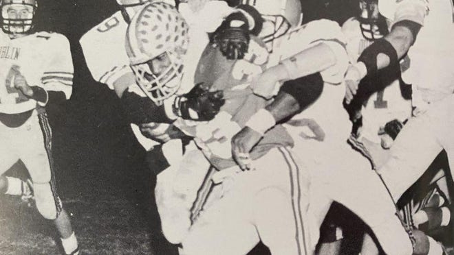Bexley High School running back Brent Johnson in a game versus Dublin High School in the late 1980s.