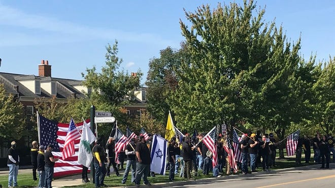 The Proud Boys rally in New Albany in early October