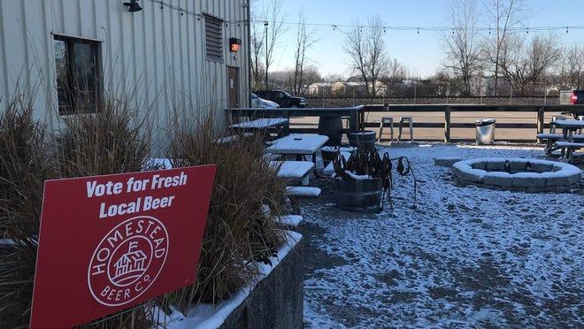 The empty, frozen patio at Homestead Beer Co. in Heath